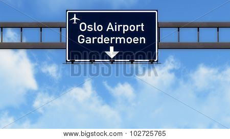Oslo Norway Airport Highway Road Sign