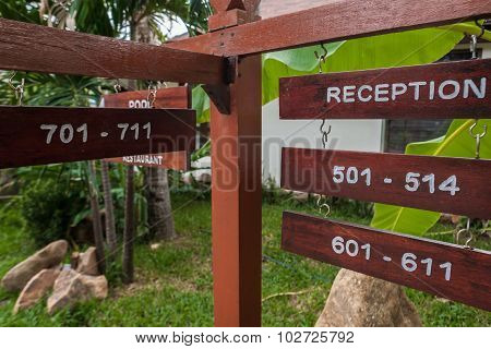 signboard on the beach at hotel, Koh Samui, Thailand
