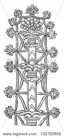 Assyrian ornament, vintage engraved illustration.
