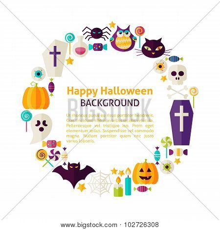 Flat Style Vector Circle Template Collection Of Halloween Holiday Objects Over White