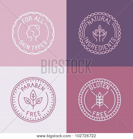 Vector Set Of Badges And Emblems In Trendy Linear Style