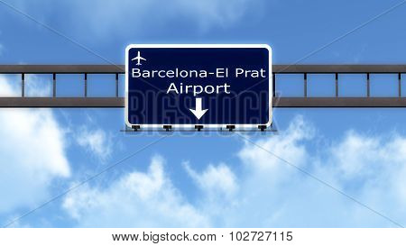 Barcelona Spain Airport Highway Road Sign