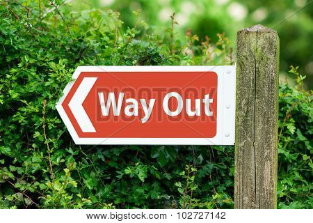 Direction Arrow, Sign To Way Out in Red Color