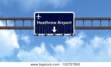 London Heathrow England United Kingdom Airport Highway Road Sign