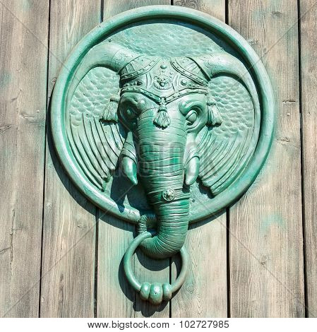 Antique Door Knocker Shaped Elephant's Head.