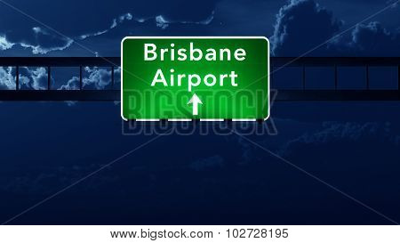 Brisbane Australia Airport Highway Road Sign At Night