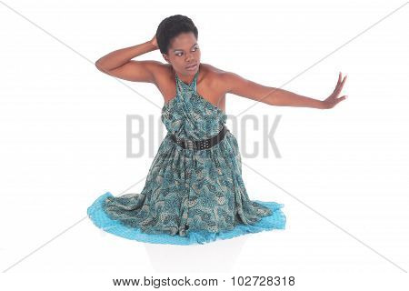 African Female In A Blue Dress Dancing