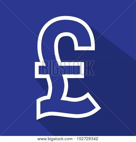 Pound flat white line icon