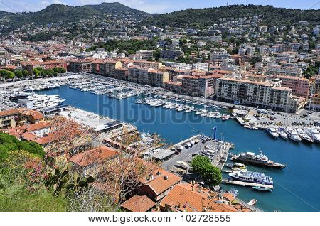 NICE, FRANCE - MAY 16: Aerial view of the port of Nice, also known as Lympia Port on May 16, 2015 in Nice, France. From this port, there are ferry connections with the Corsica island
