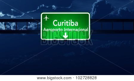 Curitiba Brazil Airport Highway Road Sign At Night