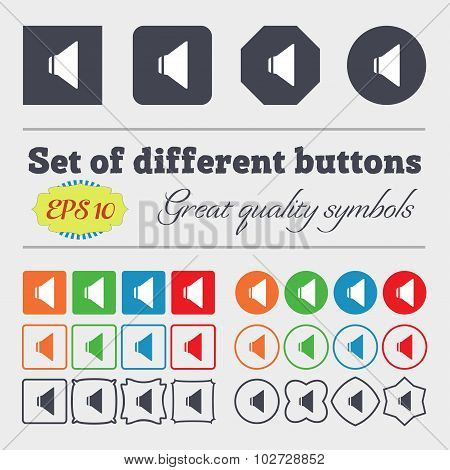 Speaker Volume Sign Icon. Sound Symbol. Big Set Of Colorful, Diverse, High-quality Buttons. Vector