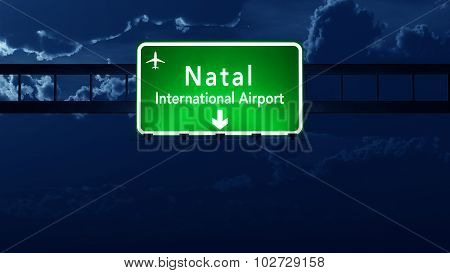 Natal Brazil Airport Highway Road Sign At Night