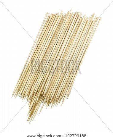 Pile Of Wooden Skewers On White Background