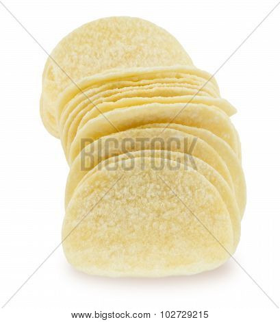 Potato Chips Or Crisp On White Background