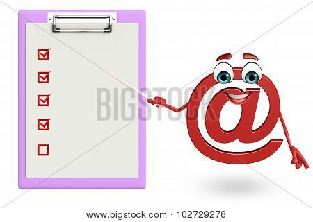Cartoon Character Of At The Rate Sign With Notepad