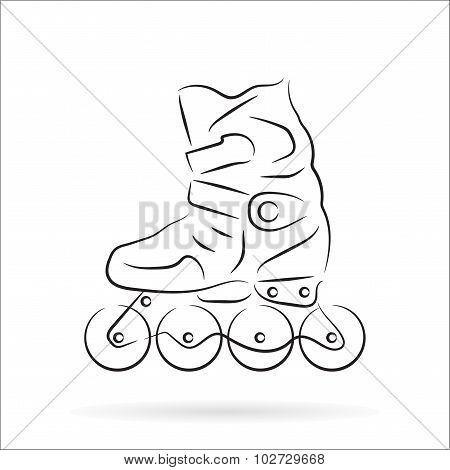 Handdrawn Roller Skate Over White