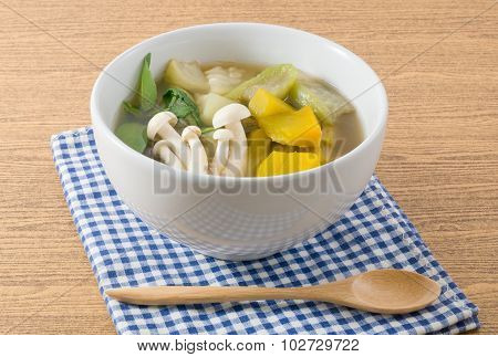 Thai Spicy Mixed Vegetables Soup On A White Bowl