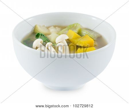 Thai Hot And Spicy Mixed Vegetables Soup On White Background