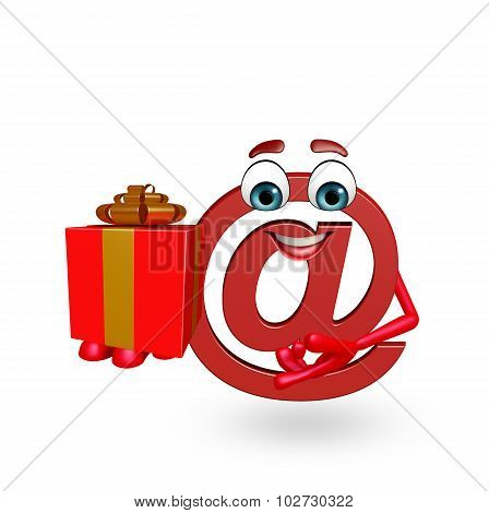 Cartoon Character Of At The Rate Sign With Gift Box
