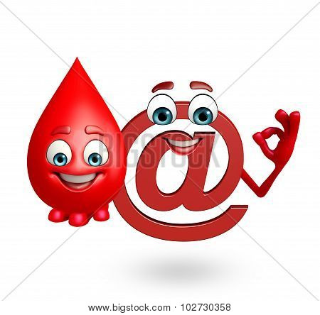 Cartoon Character Of At The Rate Sign With Blood Drop
