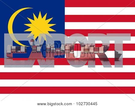 Container ship with export text and Malaysian flag illustration