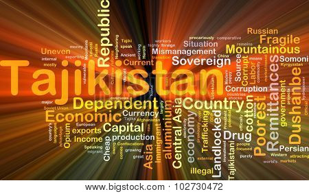 Background concept wordcloud illustration of Tajikistan glowing light