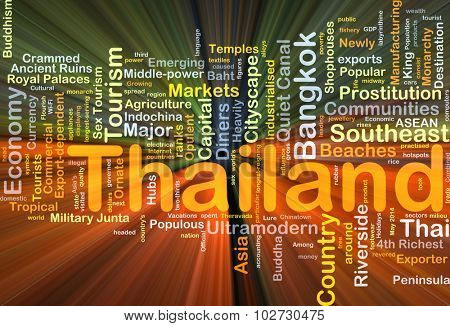 Background concept wordcloud illustration of Thailand glowing light