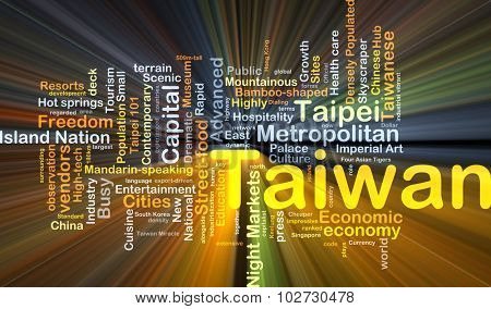 Background concept wordcloud illustration of Taiwan glowing light