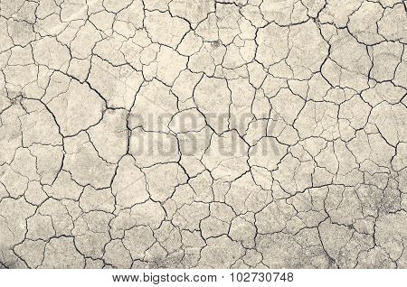 Texture Of Land Dried Up By Drought, The Ground Cracks Background