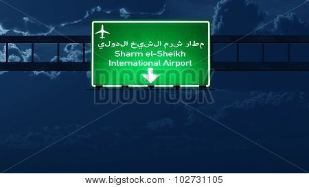 Sharm El Sheikh Egypt Airport Highway Road Sign At Night