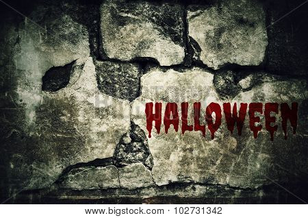 Halloween Bloody On Dirty Brick Wall With Vintage And Vignette Tone - Horror And Scary Wall Backgrou