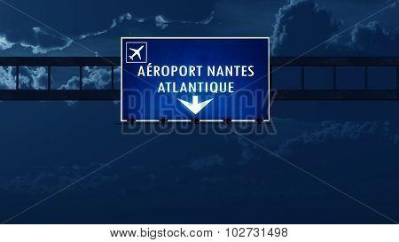 Nantes France Airport Highway Road Sign At Night