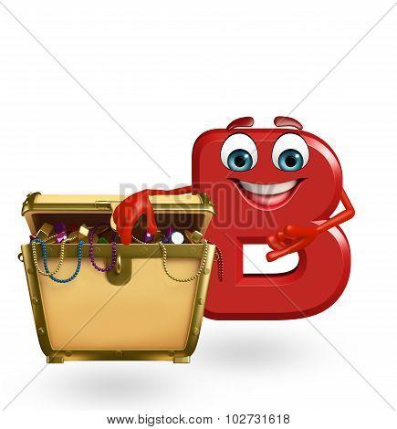 Cartoon Character Of Alphabet B With Treasure Box