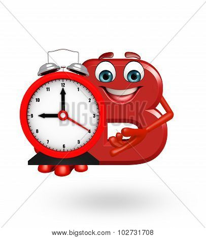 Cartoon Character Of Alphabet B With Clock