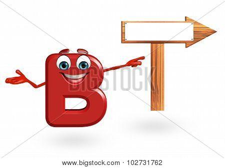 Cartoon Character Of Alphabet B With Arrow