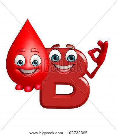 Cartoon Character Of Alphabet B With Blood Drop