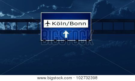 Koln Bonn Germany Airport Highway Road Sign At Night