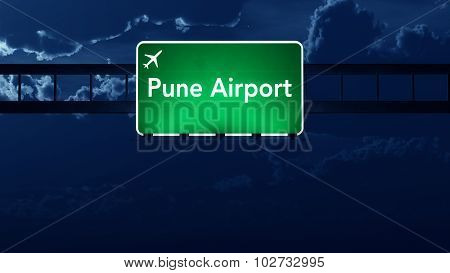 Pune India Airport Highway Road Sign At Night
