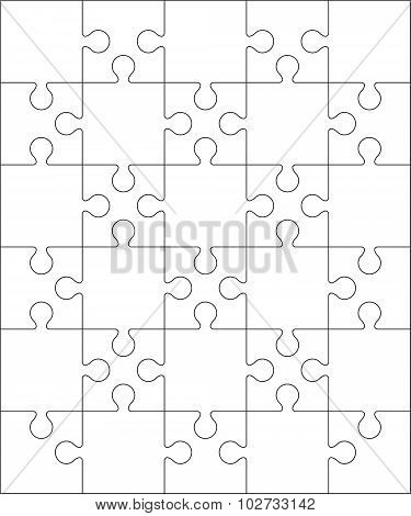 30 Jigsaw puzzle blank template or cutting guidelines