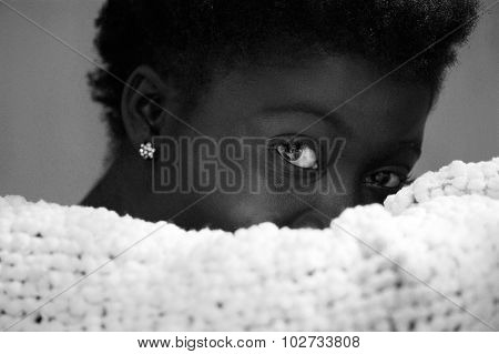African Woman Hiding Part Of Her Face