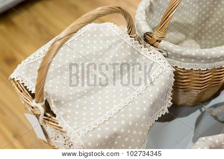wicker basket covered with a cloth