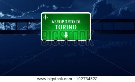 Torino Italy Airport Highway Road Sign At Night