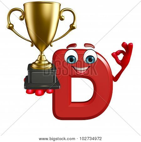 Cartoon Character Of Alphabet D With Trophy