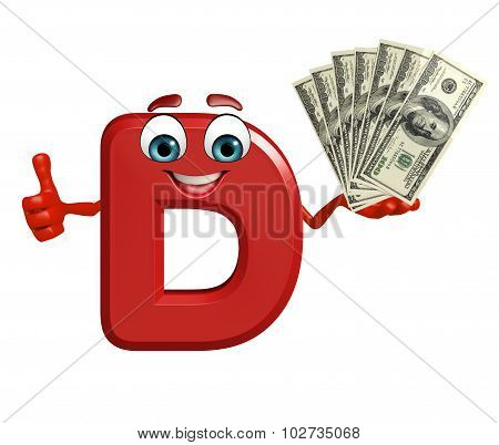 Cartoon Character Of Alphabet D With Money