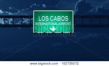 Los Cabos Mexico Airport Highway Road Sign At Night