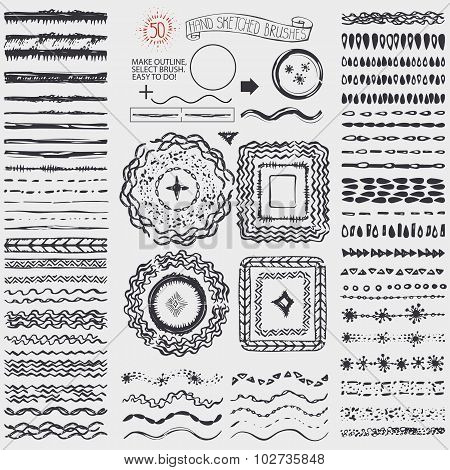 Doodle artistic pattern brushes,wreath,frame.Black