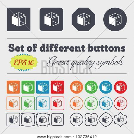 3D Cube Icon Sign. Big Set Of Colorful, Diverse, High-quality Buttons. Vector