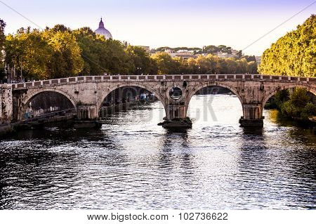 Panoramic View Of A Bridge On The Tiber River, Rome, Italy