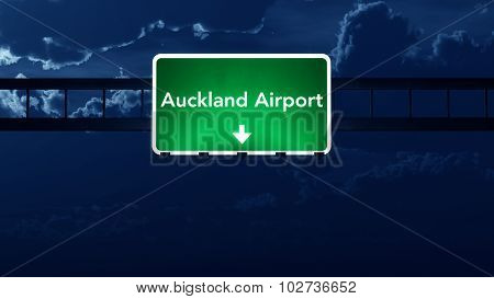 Auckland Airport Highway Road Sign At Night
