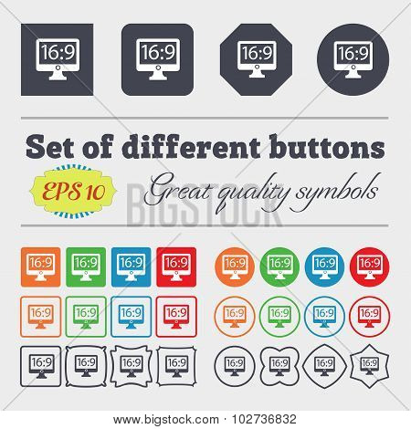 Aspect Ratio 16 9 Widescreen Tv Icon Sign. Big Set Of Colorful, Diverse, High-quality Buttons. Vecto